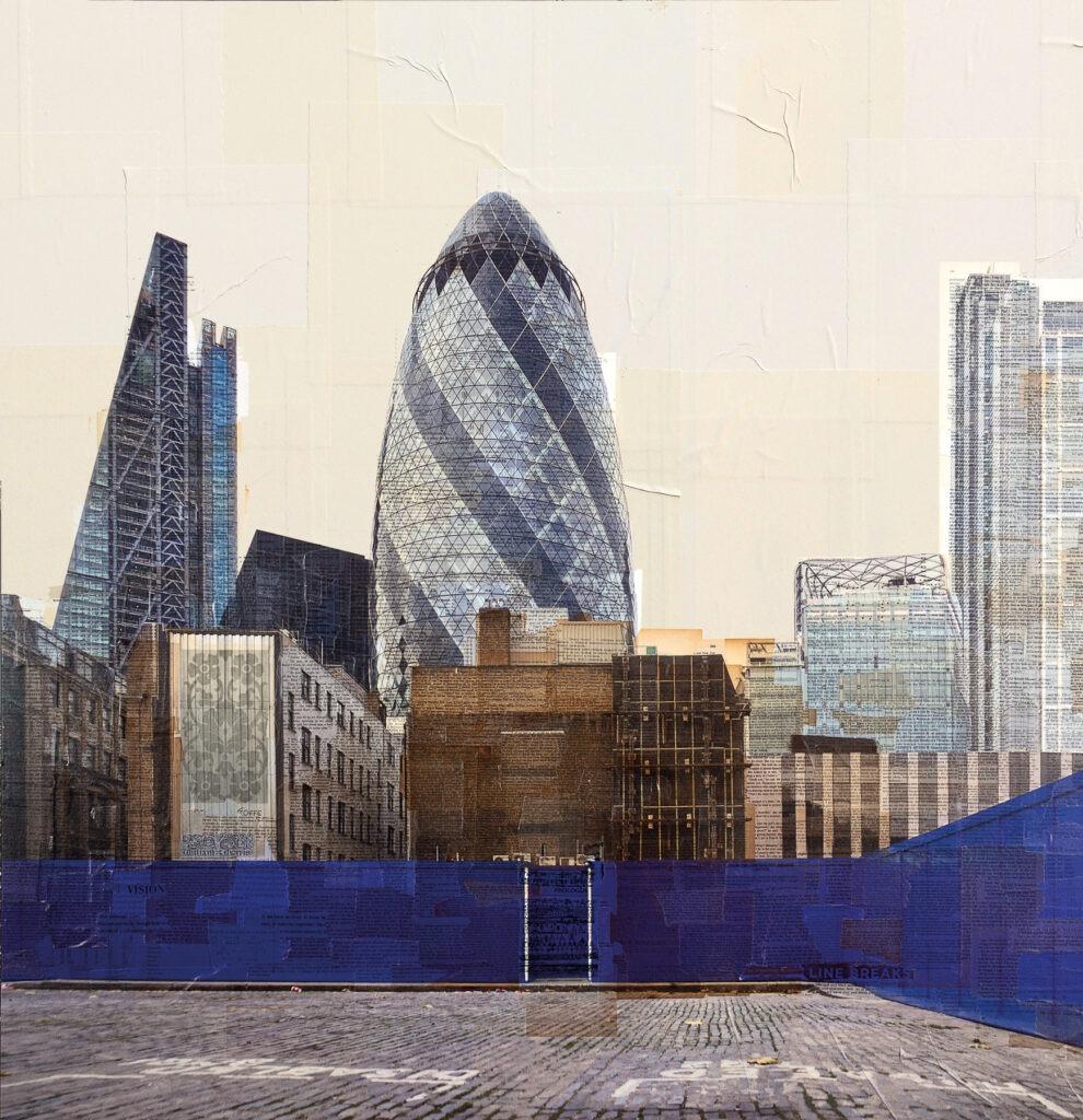 Londra, Fasciati in blu, 130x130 cm