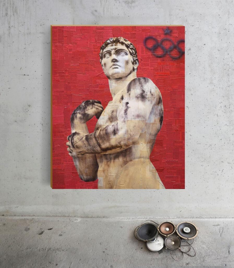 Roma, Stadio dei marmi, Colosso #1, 150x100x30 cm, istallazione con audio