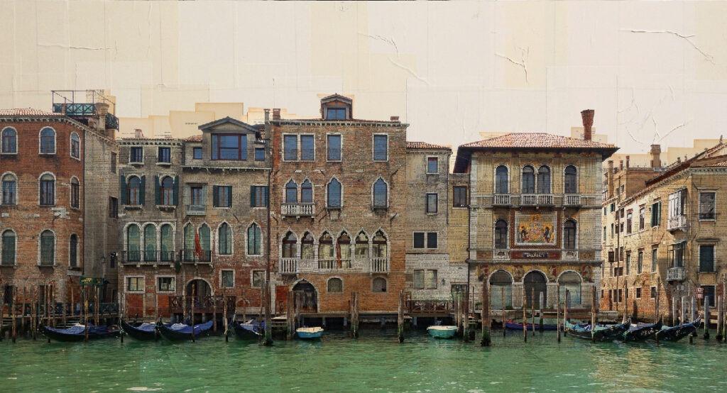 Venezia, Su una fila di gondole, 65x120 cm